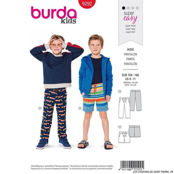 Patron Burda n°9292: Pantalon et short à cordon enfant