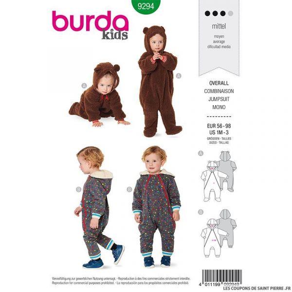 Patron Burda n°9294: Combinaison à capuche enfant