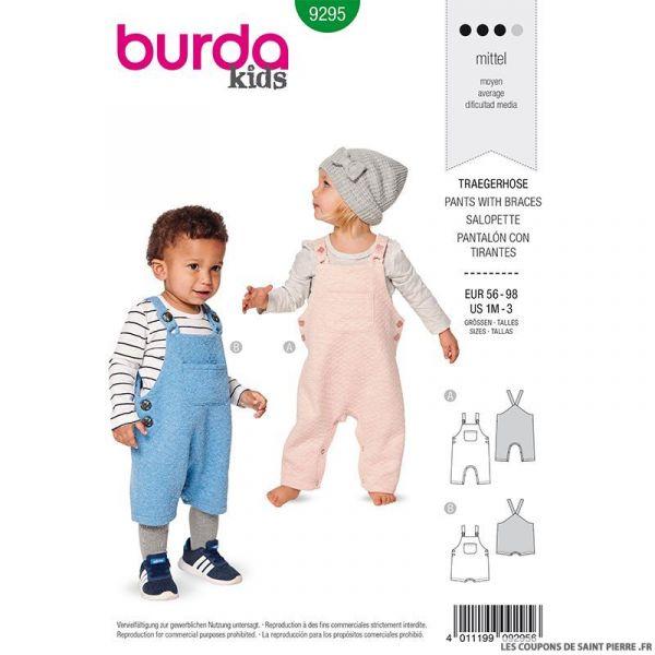 Patron Burda n°9295: Salopette entrejambe boutonnée enfant