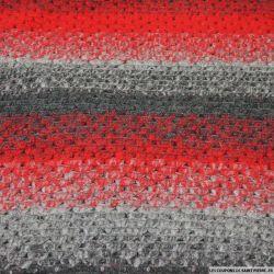 Laine tricot rayures gris et rouge