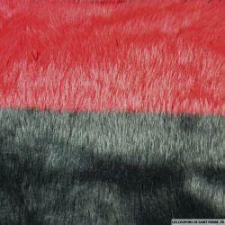 Fausse fourrure grandes rayures rouge et noir