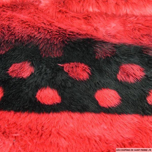 Fausse fourrure coccinelle rouge et noir
