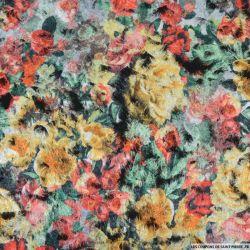 Polyester floqué imprimé champêtre