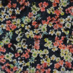 Polyester floqué imprimé petite fleurs multicolore