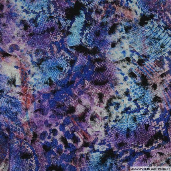 Polyester floqué imprimé musique violet