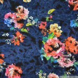Polyester floqué imprimé botanique fond bleu