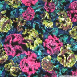 Polyester floqué imprimé peinture floral