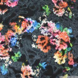 Polyester floqué imprimé botanique fond noir
