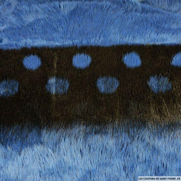 Fausse fourrure coccinelle bleu et noir