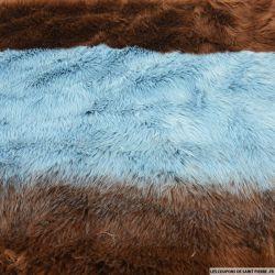 Fausse fourrure rayures bleu et marron
