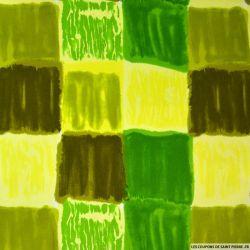 Gabardine de coton imprimée quadrillage graphique vert et jaune