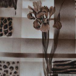 Gabardine de coton imprimée iris sépia