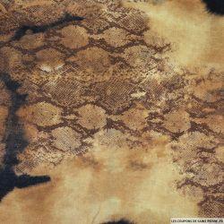 Gabardine de coton imprimée terre de feu