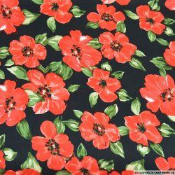 Satin polyester imprimé fleurs de pavot fond noir