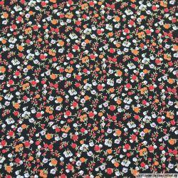 Microfibre imprimée boutons de rose fond noir