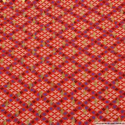 Microfibre imprimée royal touche dorée fond rouge