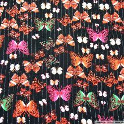 Crépon viscose papillons exposés fond noir rayé lurex argent