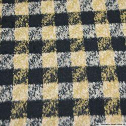 Lainage polyester carreaux noir, camel et gris