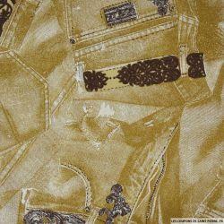 Gabardine de coton imprimée jeans doré