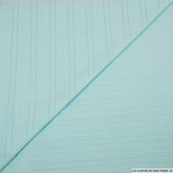Coton élasthanne rayé texturé aigue-marine