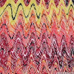 Dentelle polyester imprimée ondes sonores rouge