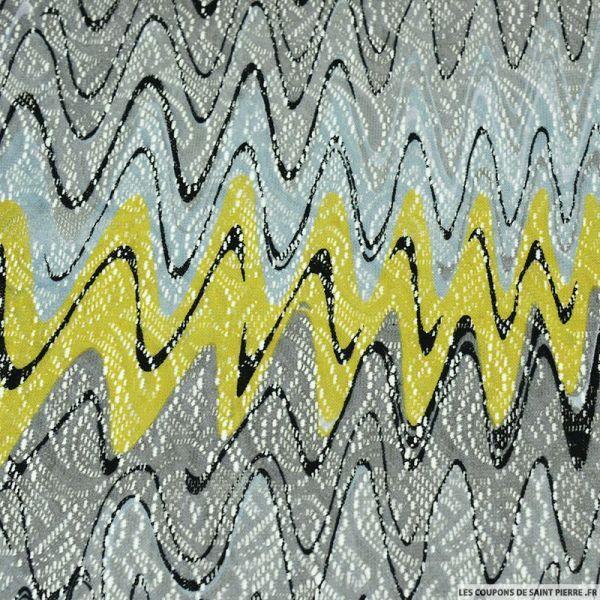 Dentelle polyester imprimée ondes sonores gris