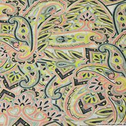 Satin polyester imprimé paisley en folie jaune