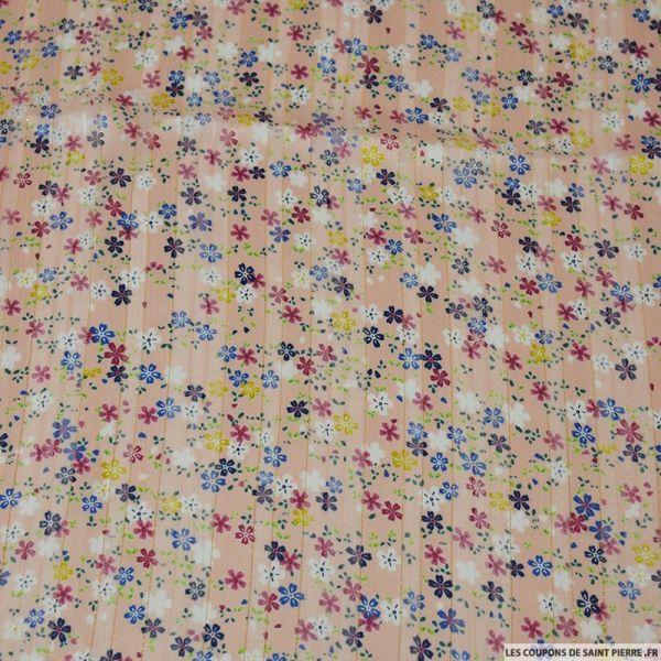 Mousseline polyester satiné fleurs de paradis rose rayé ajouré irisé