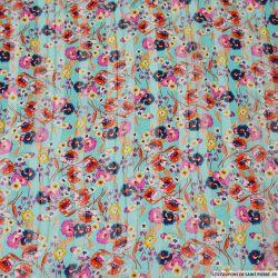 Mousseline polyester satiné épopée florale bleu rayé ajouré irisé
