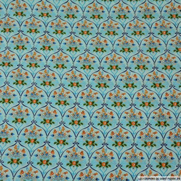 Microfibre imprimée mur floral fond aqua-marine