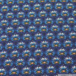 Microfibre imprimée mur floral fond bleu marine