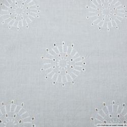 Voile coton brodé cercle solaire blanc