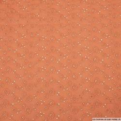 Coton brodé Leïla ocre rouge