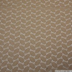 Guipure guirlande de feuilles sable