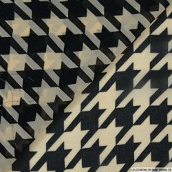 Mousseline imprimé grand pied de coq beige et noir