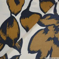 Microfibre imprimé grosse fleurs ocre