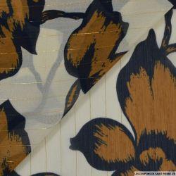 Mousseline imprimé rayé irisé grosse fleurs ocre