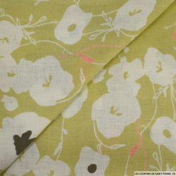 Voile de lin imprimé fleurs fond vert pistache