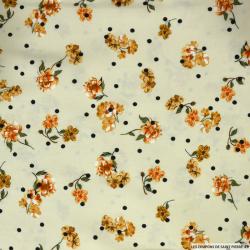 Viscose plumetis imprimée bouquet de fleurs fond crème