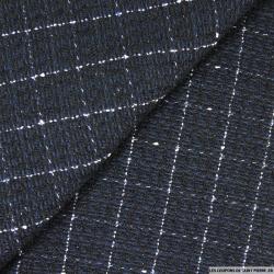 Tweed polyester à carreaux ligne blanche