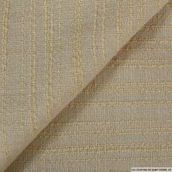 Tweed laine mélangée rayé écru