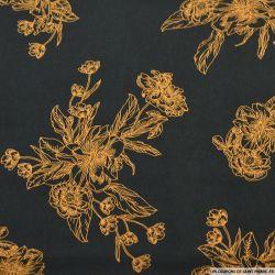 Microfibre imprimé gravure floral camel sur fond noir