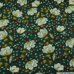 Microfibre imprimé fleurs hivernales fond vert