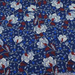 Microfibre imprimé fleurs hivernales fond bleu