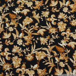 Microfibre imprimé fleurs royales mordoré fond noir