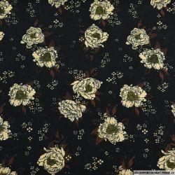 Microfibre imprimé fleurs stellaire beige sur fond noir