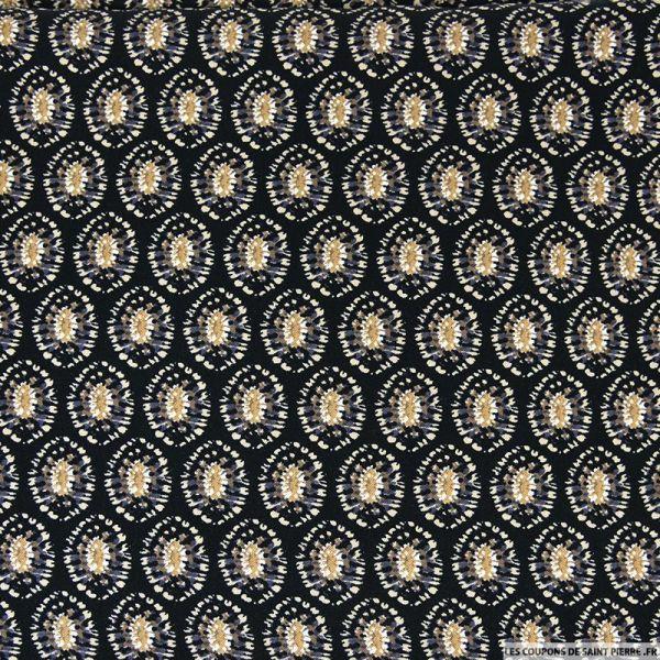 Microfibre viscose imprimée luciole noir