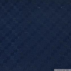 Laine mélangée contrecollé aspect marqueterie bleu marine