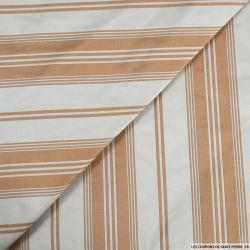 Taffetas polyester rayé chair