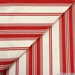 Taffetas polyester rayé rouge